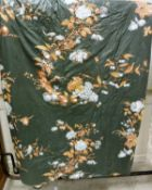 A pair of glazed cotton dark green ground floral decorated interlined curtains with tape gathered