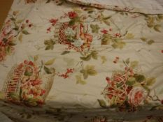 Two pairs of Colefax and Fowler 'Chelwood' design cotton interlined curtains with fixed triple
