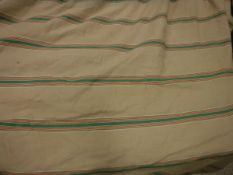 A pair of linen type cream ground striped interlined curtains with applied braiding and taped