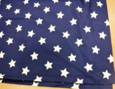 One pair of cotton John Lewis dark blue and white star pattern lined curtains with taped pencil