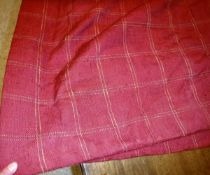 A pair of cotton/linen type burgundy and gold check interlined curtains with fixed triple pinch
