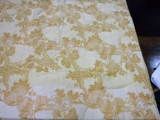 Two pairs of cotton Damask style gold coloured interlined curtains with taped pencil pleat heading,
