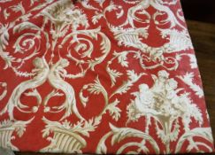 Two pairs of printed cotton type interlined curtains with red and cream Classical design,