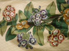 "Four pairs of Osbourne & Little ""Auritula"" glazed cotton lined curtains with tape gathered headings,"