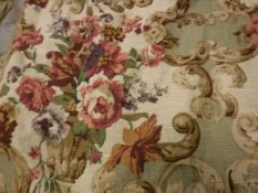 A single linen type floral decorated interlined curtain with fixed triple pinch pleat heading,
