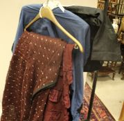 Two Victorian skirts of plum colour plus a blue cotton top with black trim and a Chinese black silk