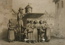 "Early 19th Century ITALIAN SCHOOL ""La Lanterna Magica"" study of figures with a magic lantern and"