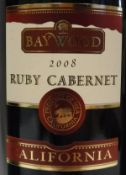 Baywood Ruby Cabernet 2008 x 5, together with one bottle Lion's Gate Cabernet Sauvignon Shiraz 2012,