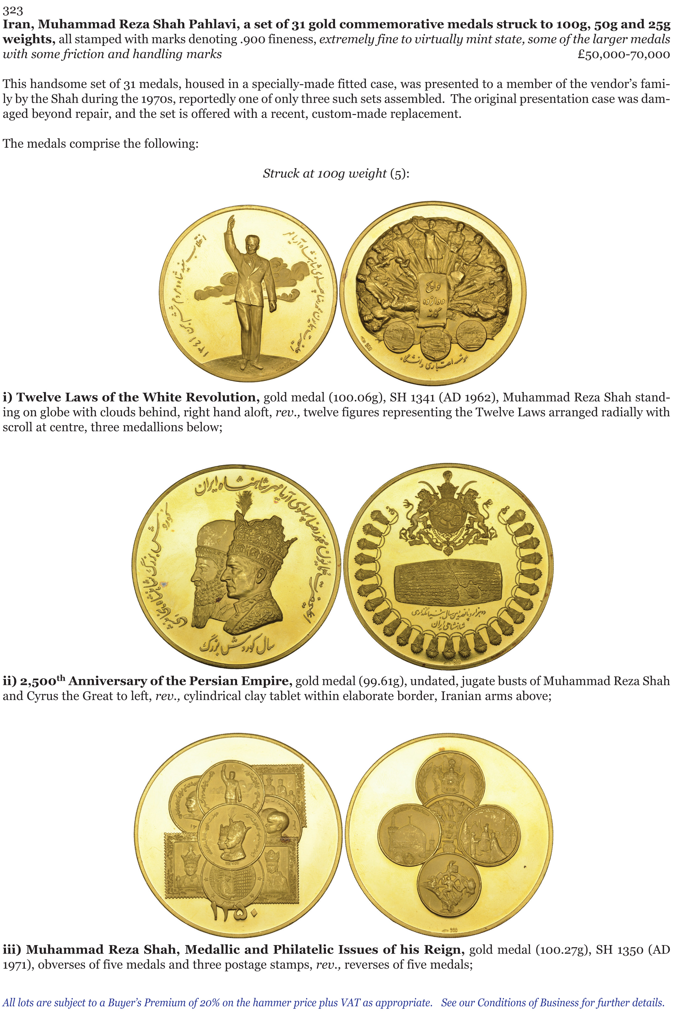 Lot 323 Iran Reza Shah Pahlavi A Set Of 31 Gold Commemorative