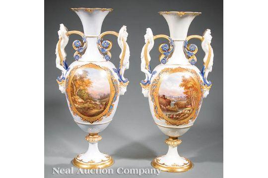 Near Pair Of Henri Ardant Amp Co Limoges Porcelain Vases Late