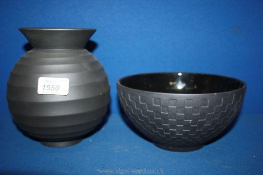 A Nick Munro Black Wedgwood Vase Together With A Black Wedgwood Bowl