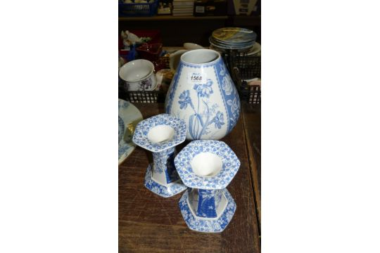 Two Blue And White Modern Spode Candlesticks Together With A Spode