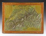 """Lot 13 - Globen - Astronomie - - Reliefkarte der Schweiz von Bauerkeller & Cie. Paris um 1842, bezeichnet """""""