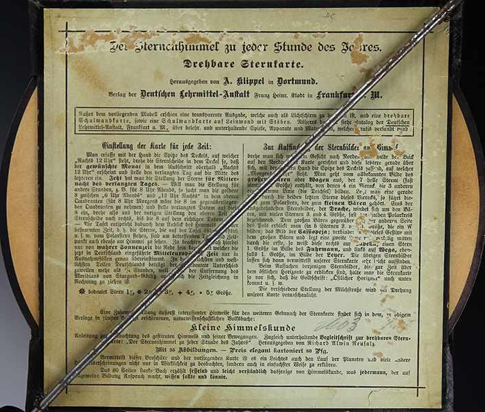Lot 4 - Globen - Astronomie - - Drehbare Sternenkarte von A. Klippel. Dortmund um 1910, Verlag der Deutschen