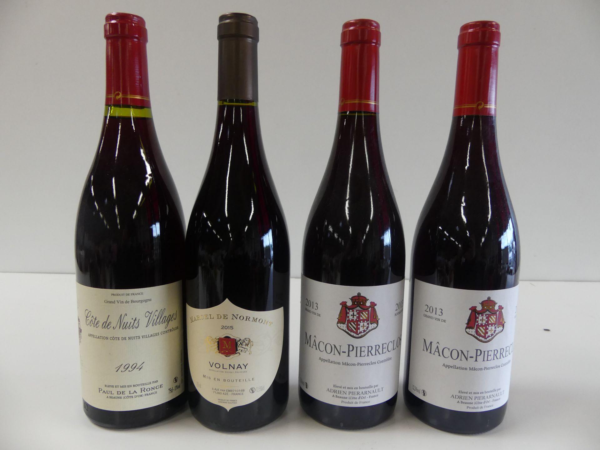 Los 44 - 4 BTLES : 1 Bourgogne Rouge Volnay Marcel de Normont 2015 ; 1 Côtes de Nuits [...]