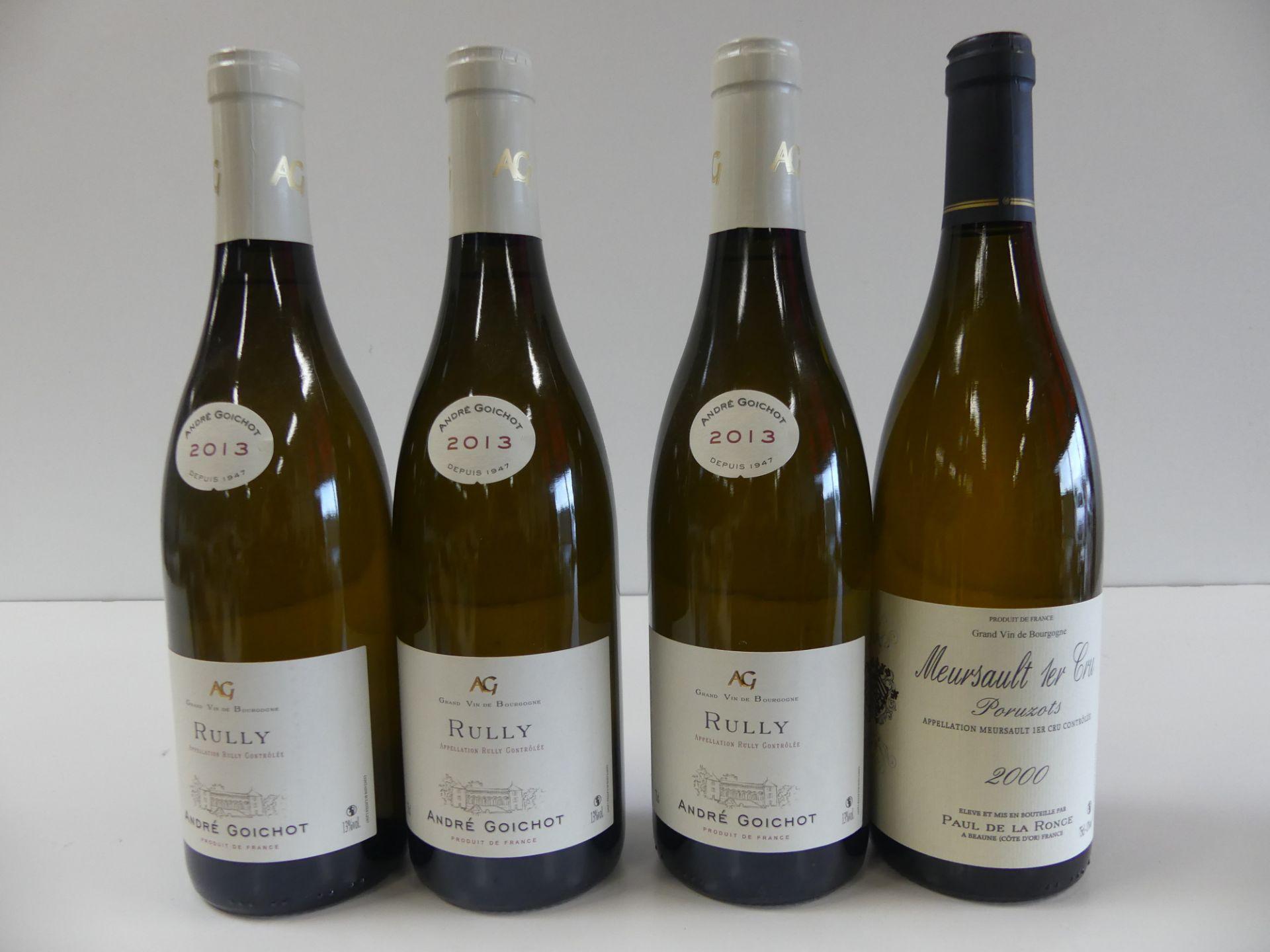 """Los 43 - 4 BTLES : 1 Meursault 1er Cru Blanc """"Poruzots"""" Paul de la Ronce 2000 ; 3 Bourgogne [...]"""