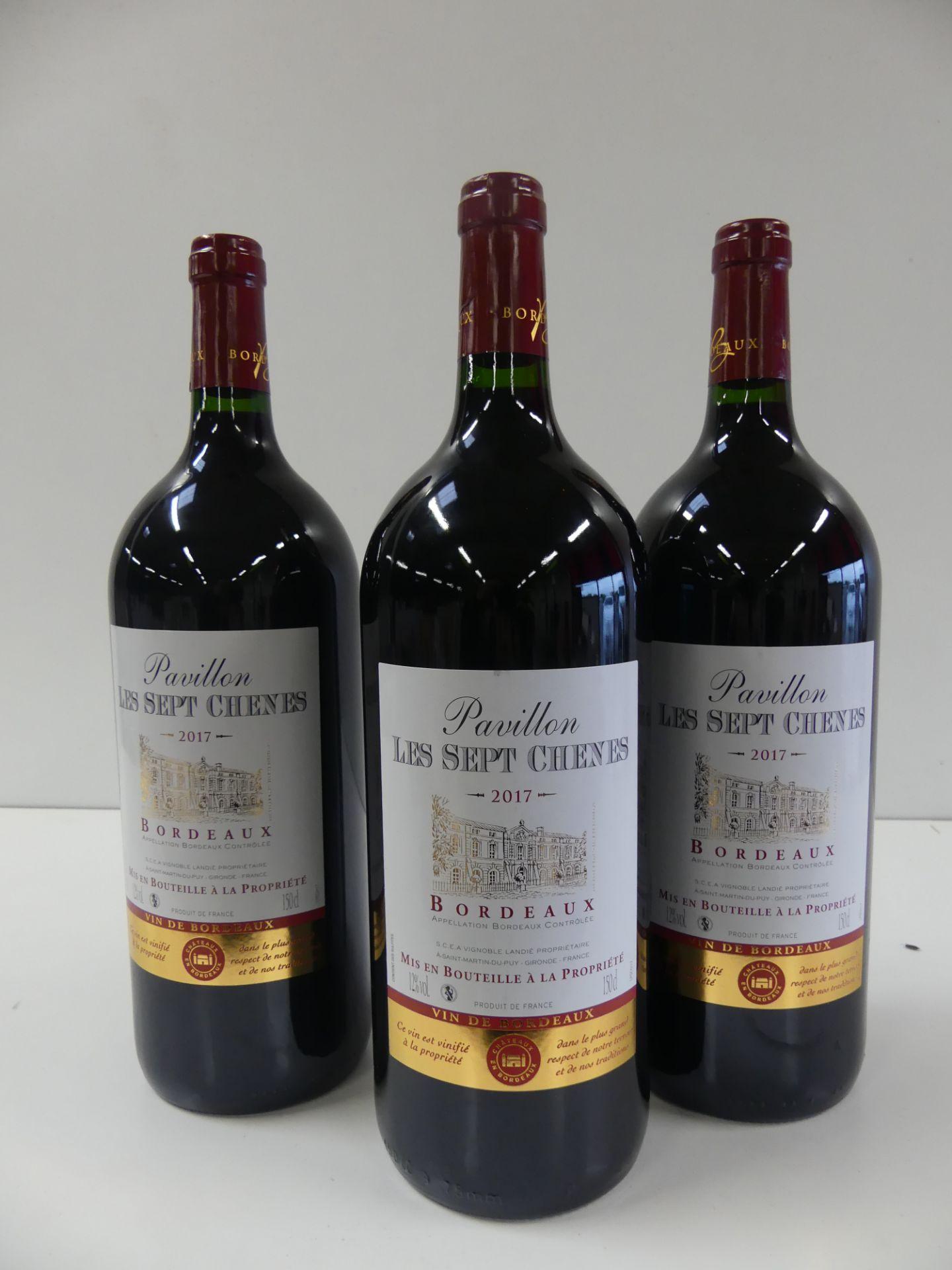 3 MAGNUMS de Bordeaux Le Pavillon des Sept Chênes Vinifié à la Propriété 2017 -