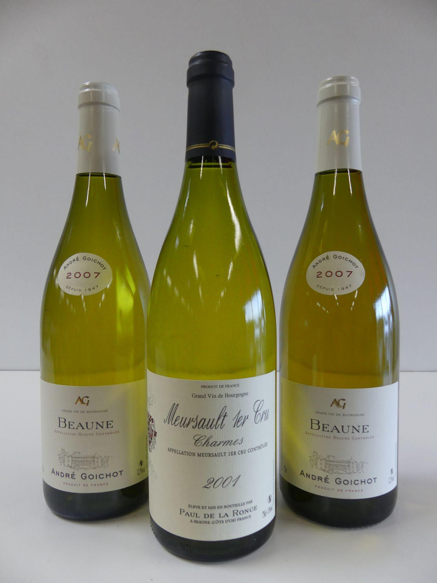 """Los 41 - 3 BTLES : 1 Meursault 1er Cru Blanc """"Charmes"""" Paul de la Ronce 2001 ; 2 Beaune Blanc [...]"""