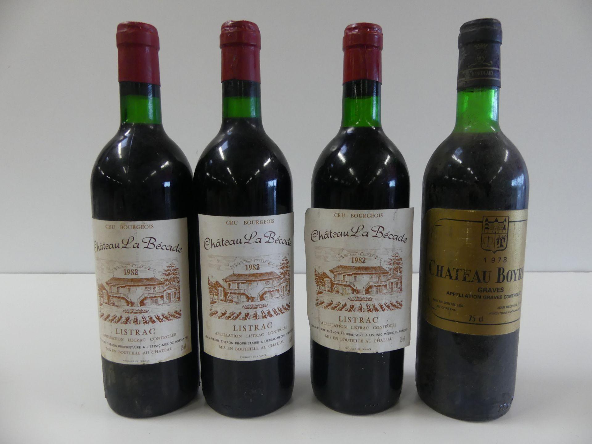 Los 52 - 4 BTLES : 3 Château La Bécade Listrac Cru Bourgeois (1982 ou 1988 ?) ; 1 Château [...]