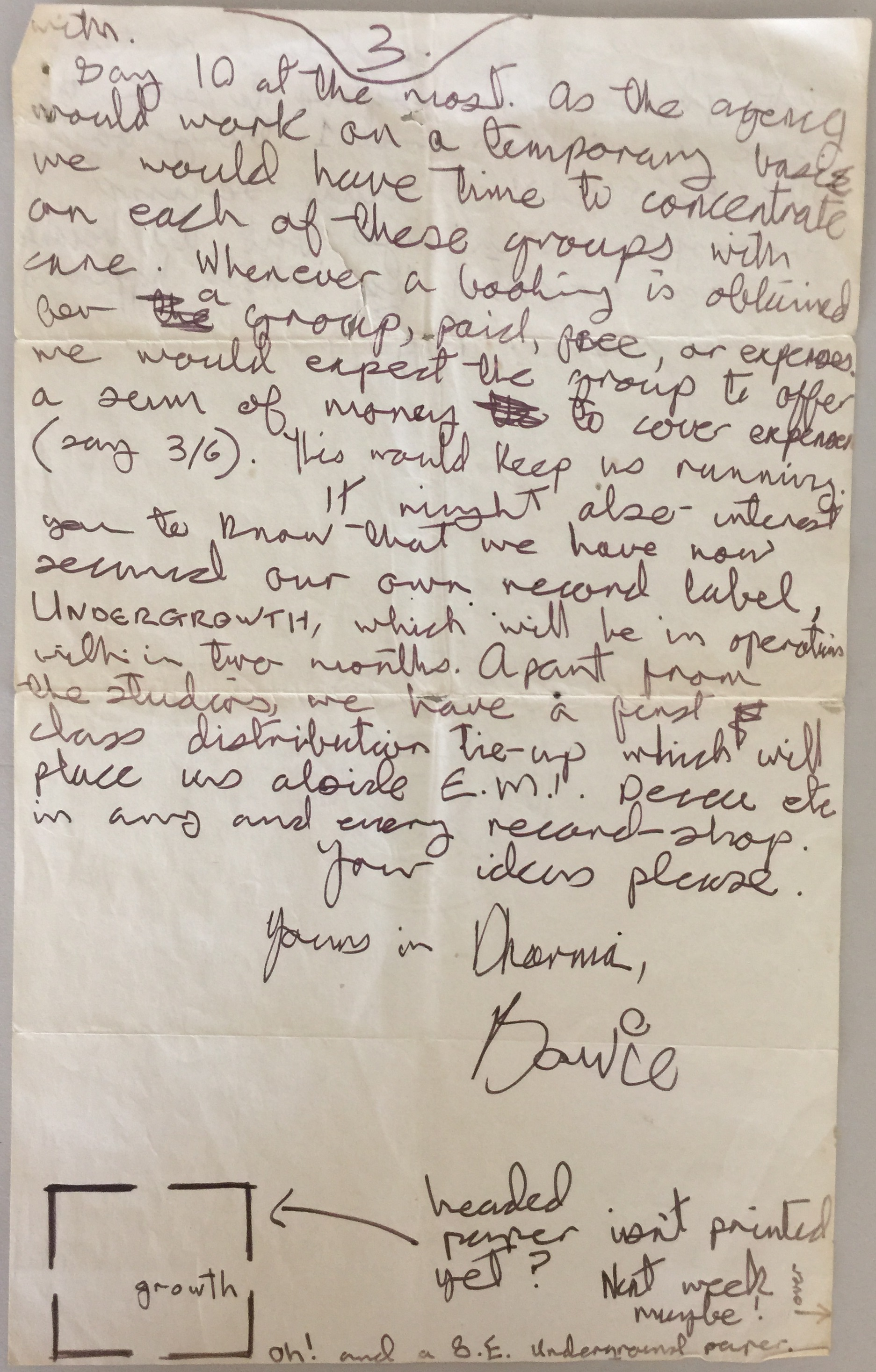 Lot 351 - DAVID BOWIE 4 PAGE HANDWRITTEN LETTER FROM 1969.