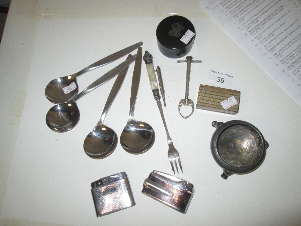 Lot 39 - Brass patch box, propelling pencil, flatware etc.