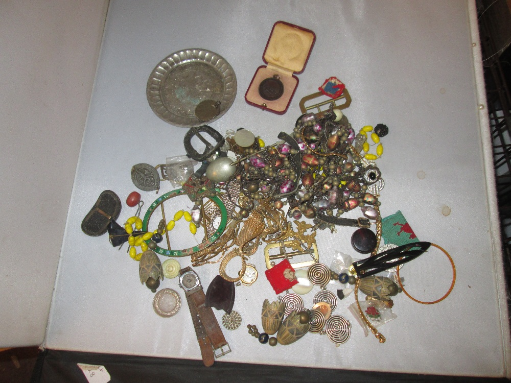 Lot 2 - Bag of assorted costume jewellery, medallions, wristwatches etc.