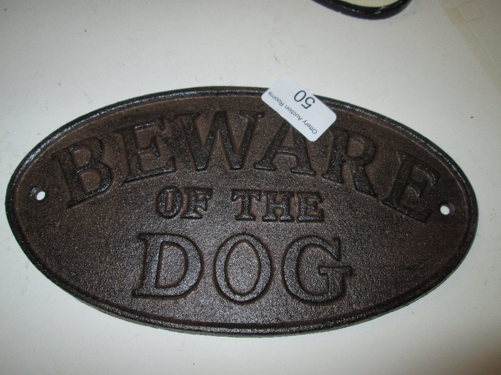 Lot 50 - Cast iron Sign : Beware of the Dog
