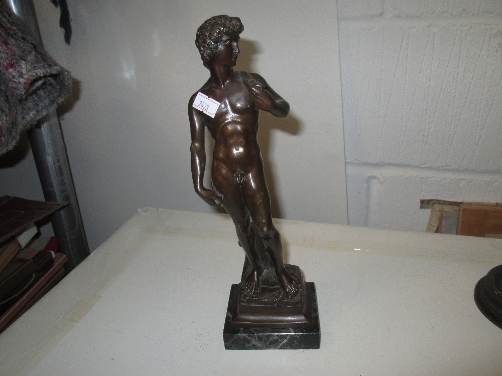 Lot 46 - Early 20th century Neo Classical bronze figure of David