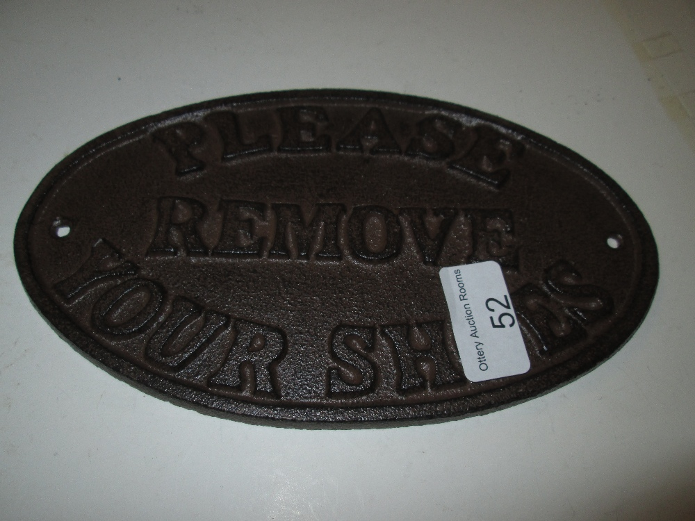 Lot 52 - Cast iron sign : Please Remove Shoes