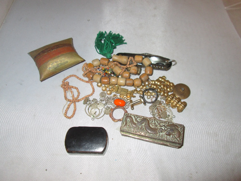Lot 21 - Assorted costume jewellery, papier mache snuff box etc.