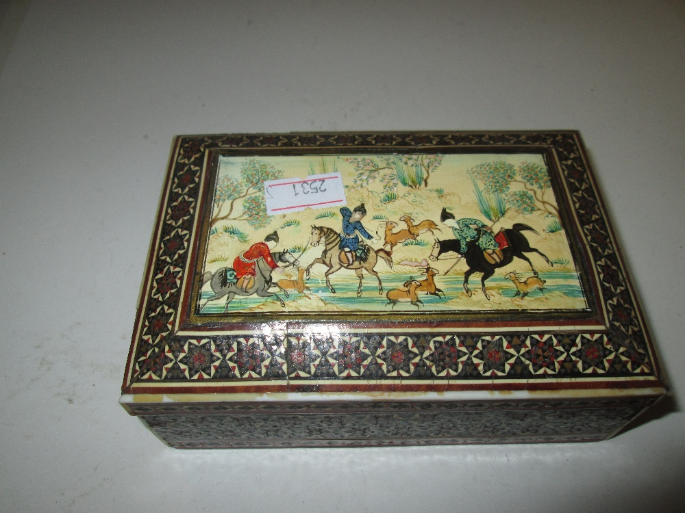 Lot 40 - Painted Islamic mosaic box decorated with hunting scenes