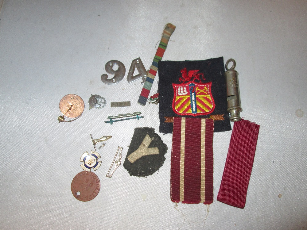 Lot 19 - Medal ribbon bar, patches, ARP whistle, military tags,