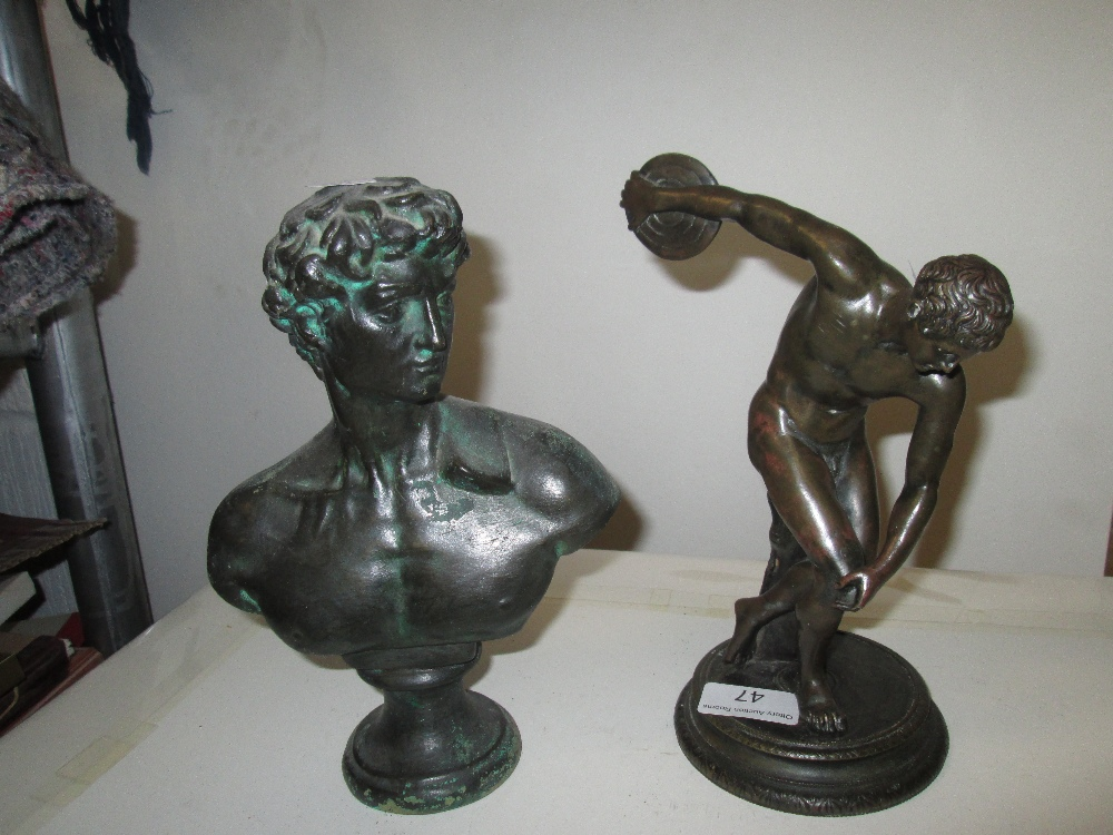 Lot 47 - Early 20th century Neo Classical bronze figure of discus thrower (Diskobolus of Myron) & later