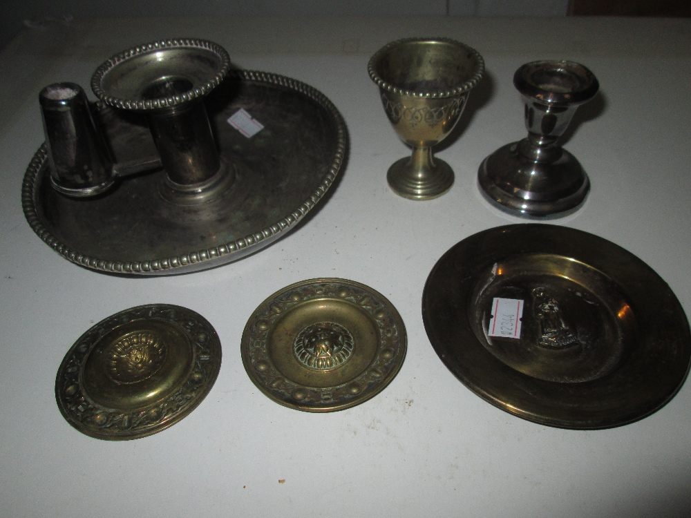 Lot 36 - Filled silver candle stick & plated chamber stick etc.