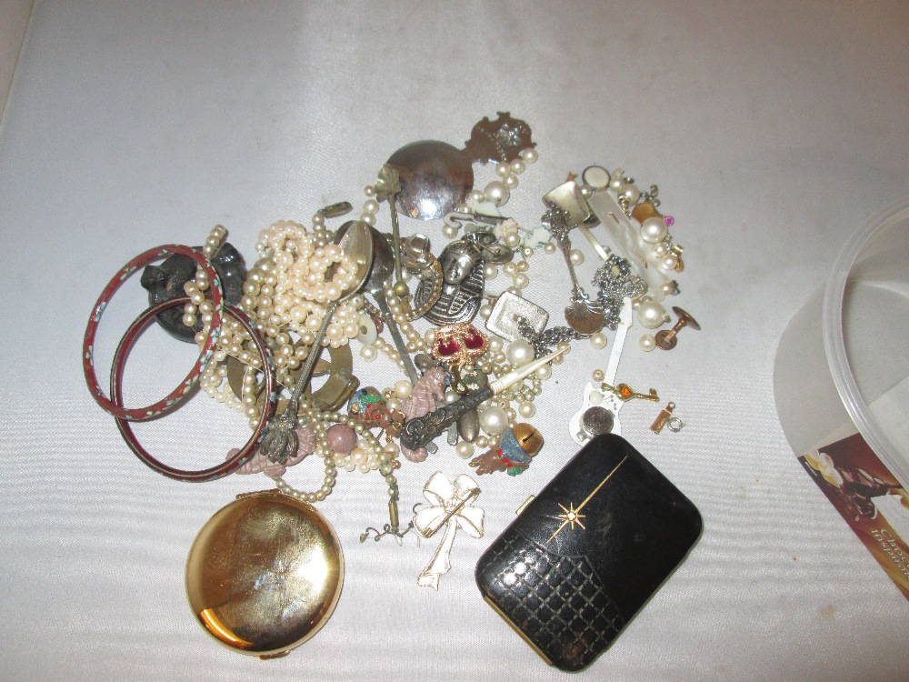 Lot 1 - Box of odd costume jewellery, compact simulated pearls etc,