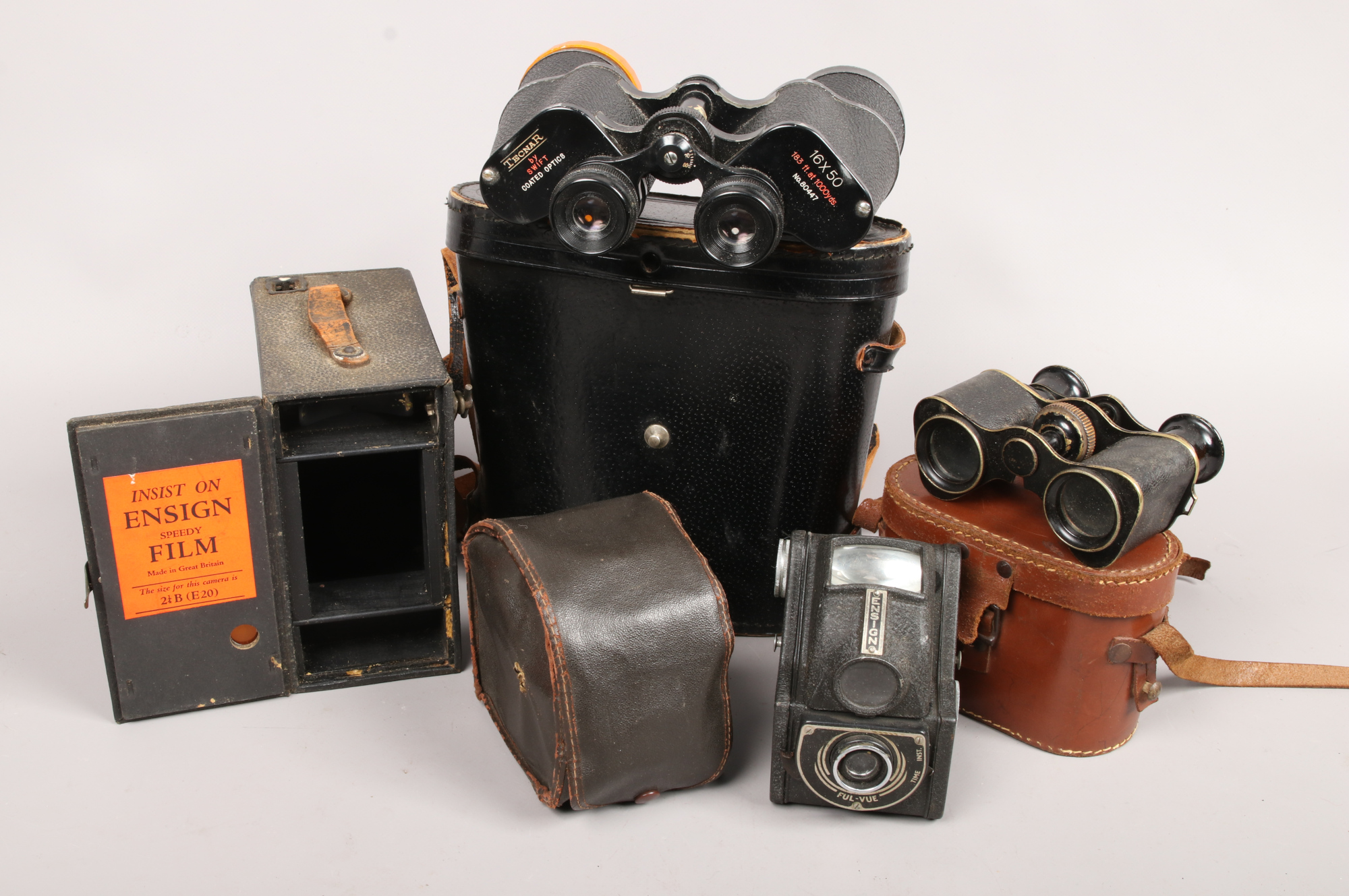 Lot 4 - Two pairs of cased binoculars to include Tecnar 16 x 50, Ensign Ful-Vue camera etc.