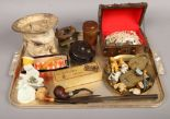 Lot 9 - A tray of collectables to include vintage brass pad locks, boxed meerschaum pipes, Carlton crested