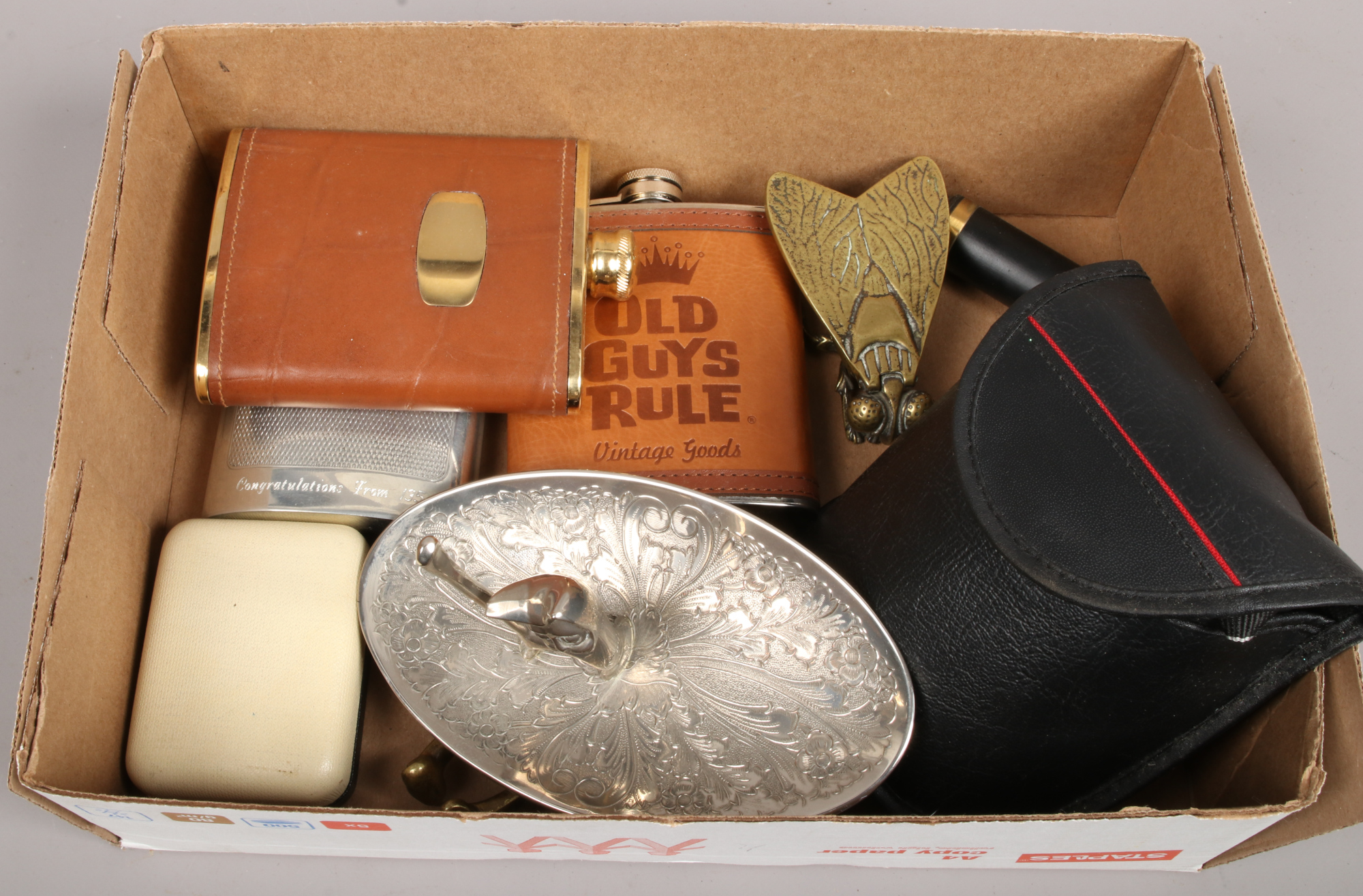 Lot 54 - A small group of collectables to include ladies Bulova wristwatch, brass fly match strike, hip flask