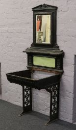 Lot 625 - A Victorian cast iron washstand with mirrored back.Condition report intended as a guide only.Lacking