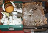 Lot 42 - Two boxes of mixed ceramics and glass including Edwardian etched drinking glasses, Denby, Johnson
