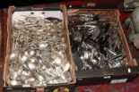 Lot 40 - Two boxes containing a large quantity of Elkington plate and Glossop & Co. flatwares, all