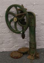 Lot 38 - A cast iron hand crank pillar drill.