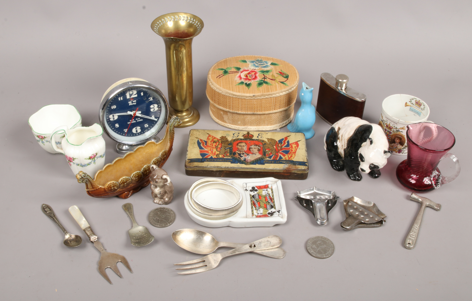 Lot 8 - A box of collectables including a coronation tin, hip flask, Wade, vintage buttons, commemorative