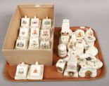 Lot 26 - A tray of World War One crested china along with a box of crested miniature cheese dishes.