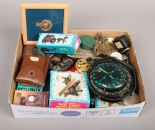 Lot 5 - A group lot of collectables compasses, Diecast sharpeners, Rolls razor, military items etc.