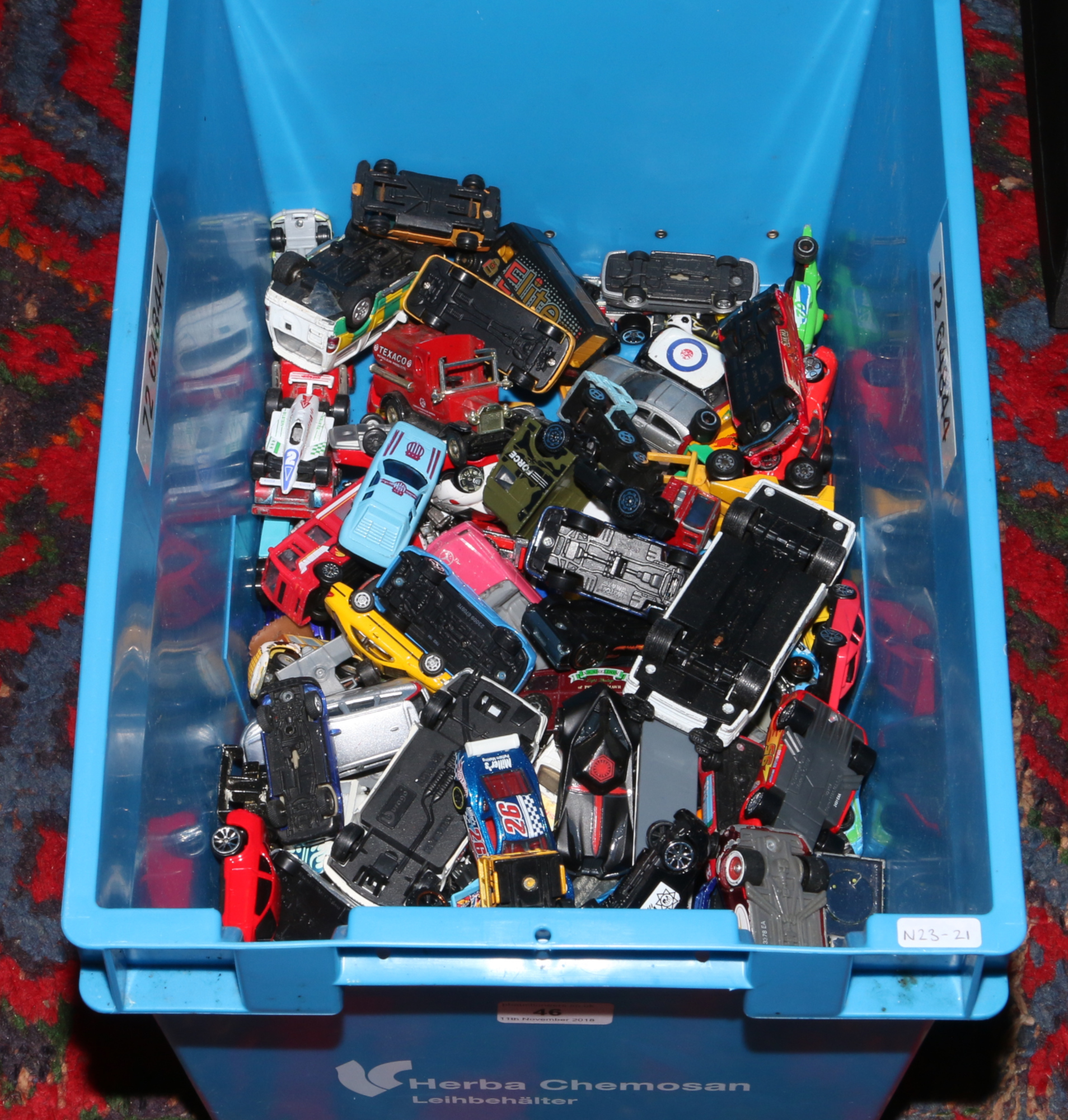 Lot 46 - A box of Diecast vehicles to include Matchbox, Corgi, Hot Wheels examples etc.