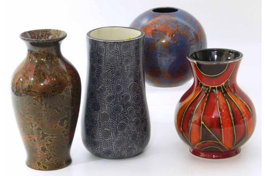Anita Harris Flambe Vase And Two Other Lustre Gilt Art Pottery Vases