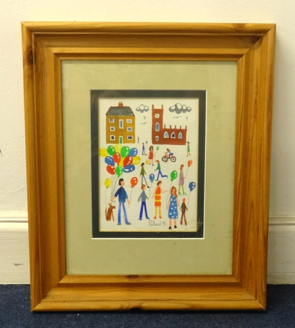 Lot 006 - Brian Pollard, original acrylic, 'Balloon Seller, Outside the Church', early work 1991, 17cm x