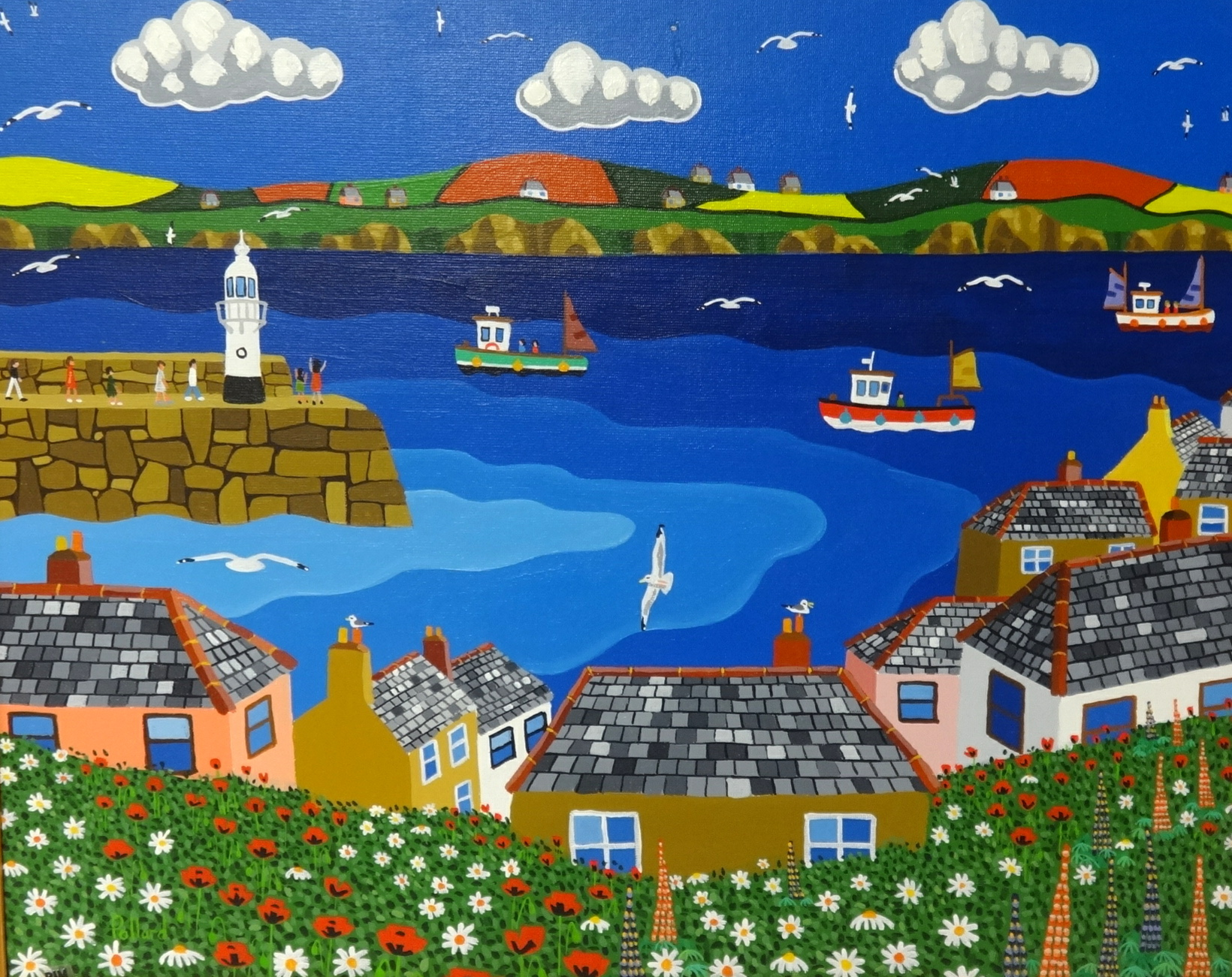 Lot 013 - Brian Pollard, original acrylic on board, signed 'St Ives Harbour, 1992', 59cm x 74cm. Provenance;