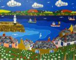 Lot 013 - Brian Pollard, original acrylic on board, signed 'St Ives Harbour, 1992', 59cm x 74cm. Provenance;